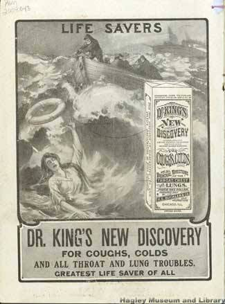 "A circa-1907 Dr. King's New Discovery Ad Claiming the ""Life-Saving"" Properties of the Remedy (Griffin 2013)."
